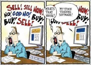 sell buy trading software cartoon