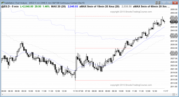 The Emini price action today was a strong bull trend.