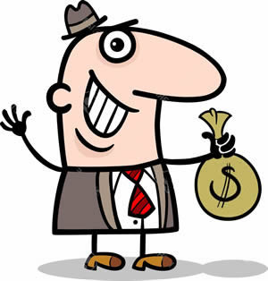 Funny Little Man Holding- Bag of Money