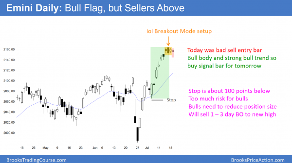 The Emini has a bull flag, but is overbought. ioi breakout mode candlestick pattern.