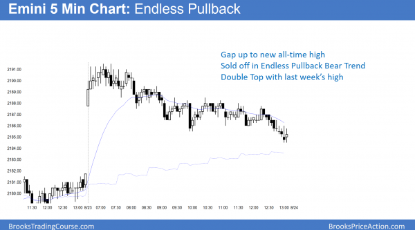 endless pullback bear trend after island bottom in emini