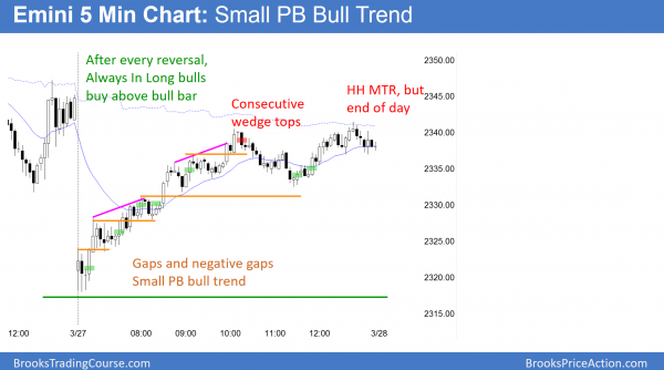 Emini reversal up from big gap down, and then small pullback bull trend that closed the gap