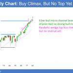 Trump healthcare failure is catalyst in buy climax, but no top yet <br />Emini weekend update: July 29, 2017