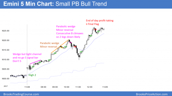 Emini small pullback bull trend, parabolic wedge, consecutive buy climaxes after Trump tax cut