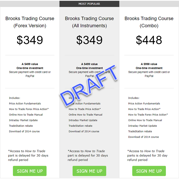 Brooks Trading Course Pricing Table