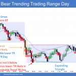 Emini buy climax in bear trending trading range day