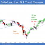 Emini bear breakout below triangle and then bull trend reversal