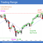 Emini trading range day with wedge tops and bottoms