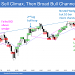 Emini sell climax and high 2 in emini then broad bull channel