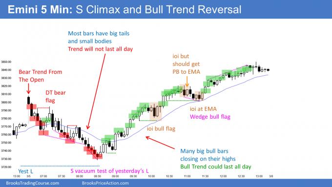 Emini bull flag micro double bottom set up on daily chart