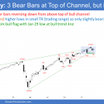 EminiSP500 futures weekly chart has 3 bear bars in buy climax at top of channel