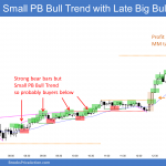 Emini double bottom then small pullback bull trend