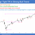 Emini SP500 futures weekly candlestick chart has High 1 buy signal bar in tight trading range in small pullback bull trend