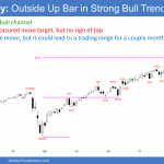 Emini SP500 futures weekly chart outside up bar in strong bull trend