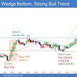 Emini wedge bottom then major bull surprise and leg 1 = leg 2 measured move